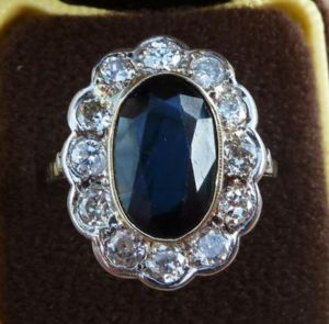 Stunning art deco 18ct 18k white gold 6ct sapphire and diamond cluster vintage antique ring